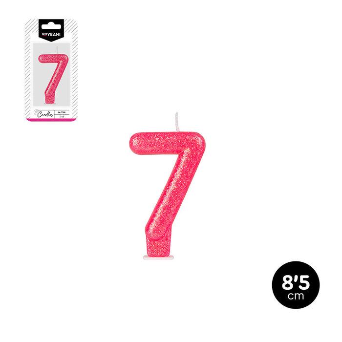 Vela numero 7 glitter 5 colores surtidos 8,5cm