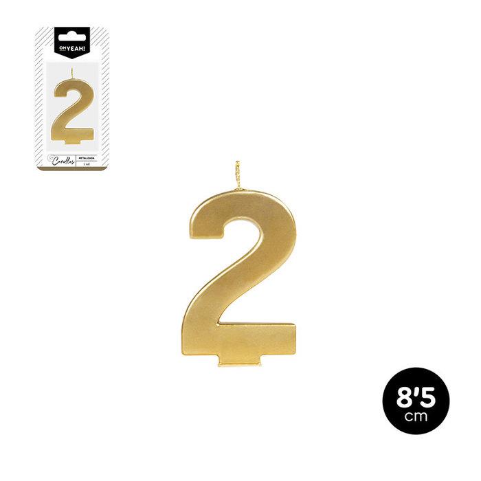 Vela numero 2 oro metalizado 8,5cm