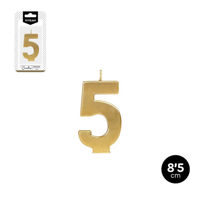 Vela numero 5 oro metalizado 8,5cm