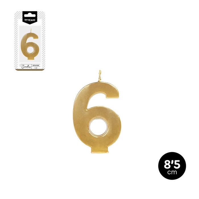 Vela numero 6 oro metalizado 8,5cm