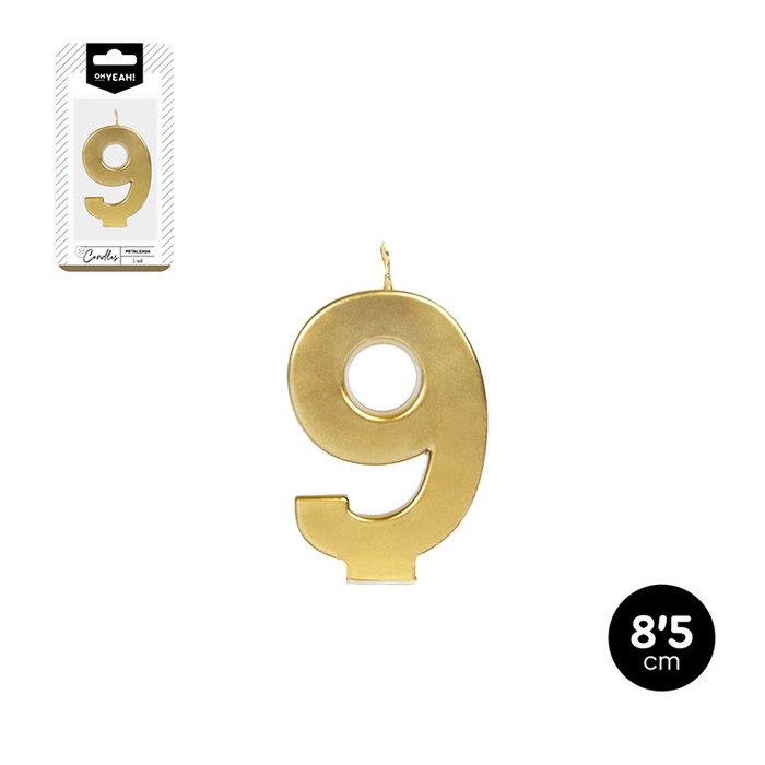 Vela numero 9 oro metalizado 8,5cm