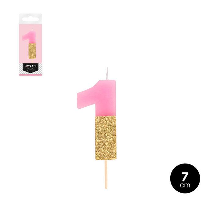 Vela bicolor numero 1 rosa pastel + glitter oro 7cm