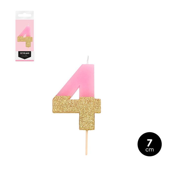 Vela bicolor numero 4 rosa pastel + glitter oro 7cm