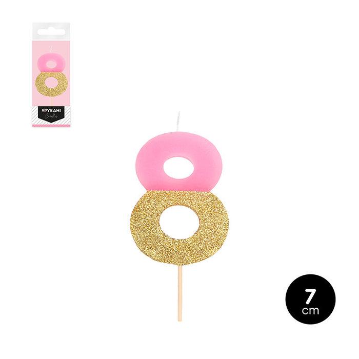 Vela bicolor numero 8 rosa pastel + glitter oro 7cm
