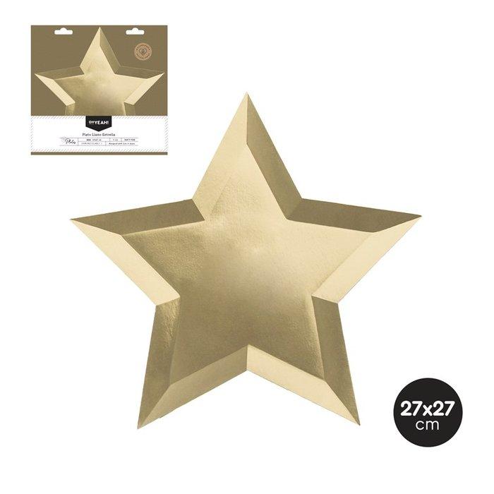 Plato llano estrella oro metalizado 27x27 cm carton 6 uds