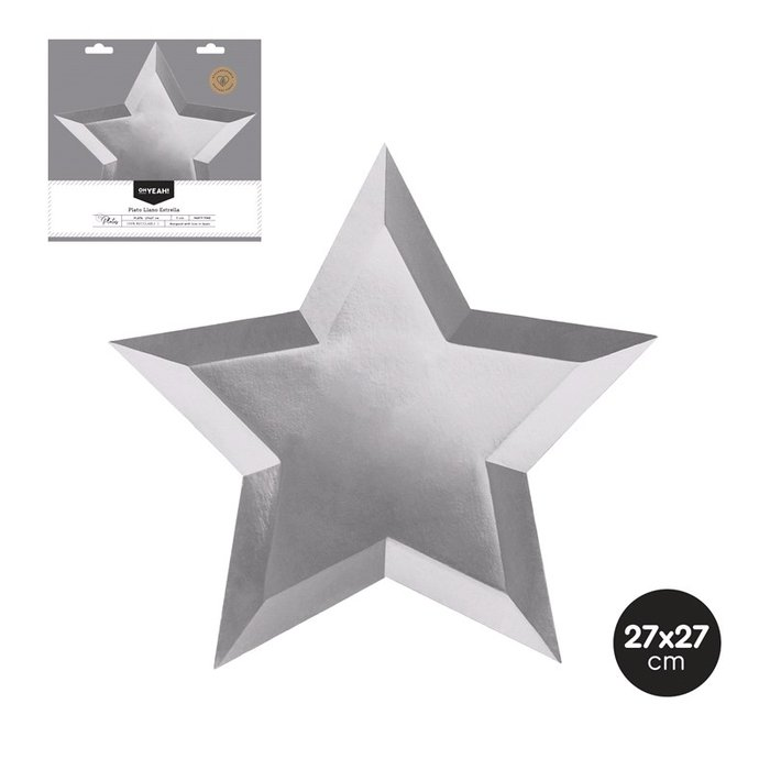 Plato llano estrella plata metalizado 27x27 cm carton 6 uds