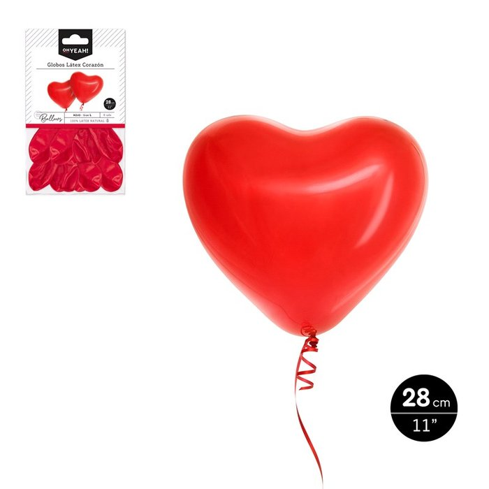 Globo latex corazon rojo 28cm 6 uds