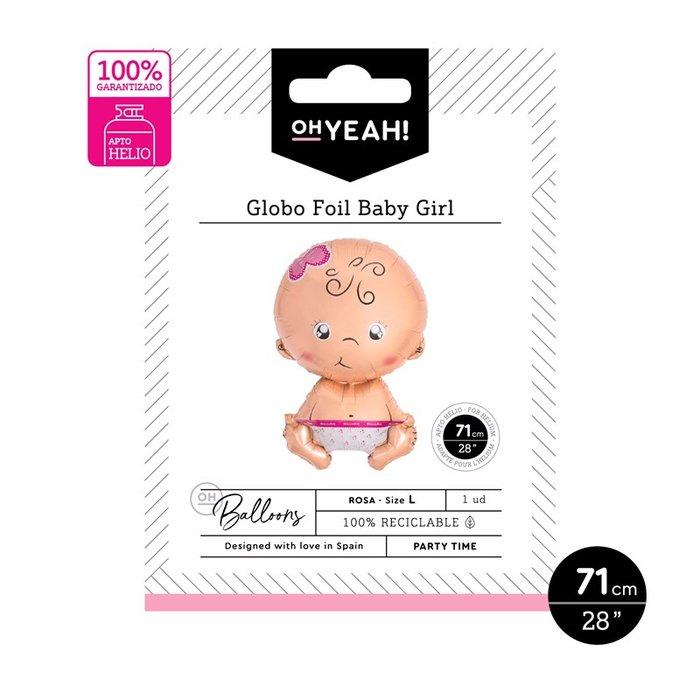 Globo baby girl rosa 71cm-28 apto helio 1 ud