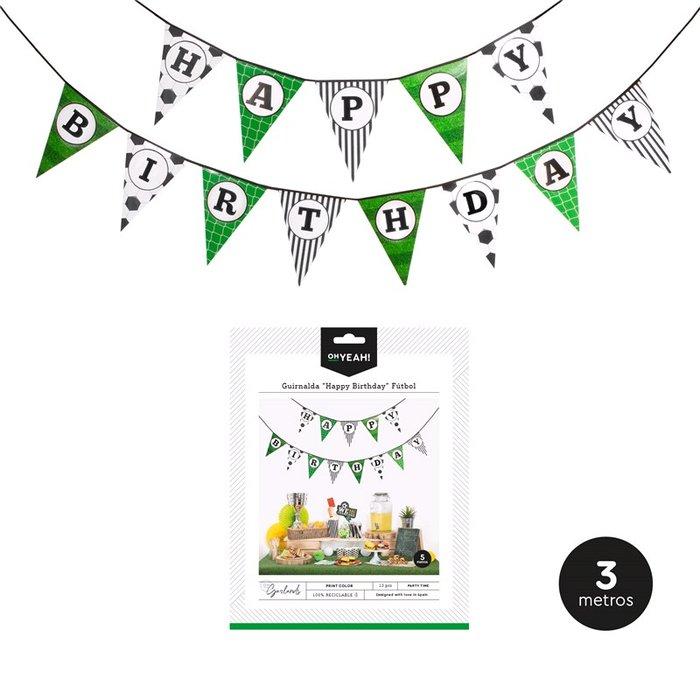 Guirnalda banderin happy birthday futbol  5m carton 13ud