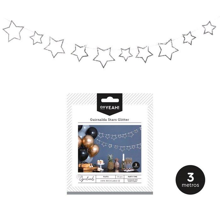 Guirnalda stars glitter plata 3m carton