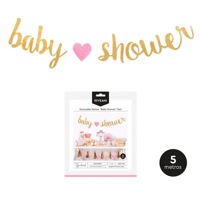 Guirnalda baby shower girl 2,15m carton 1 ud