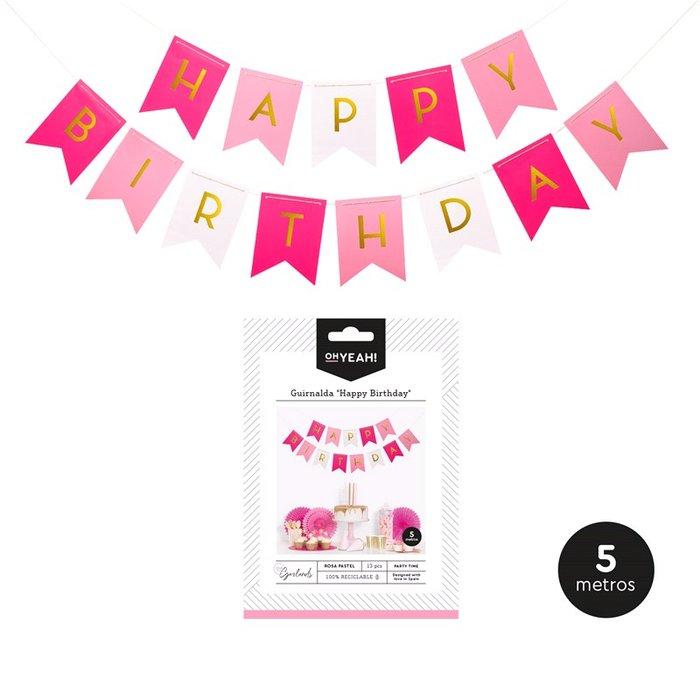 Guirnalda banderin happy birthday rosa oro