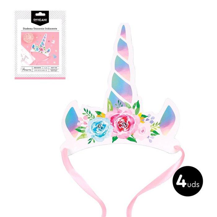 Diadema unicornio color iridiscente carton 4ud