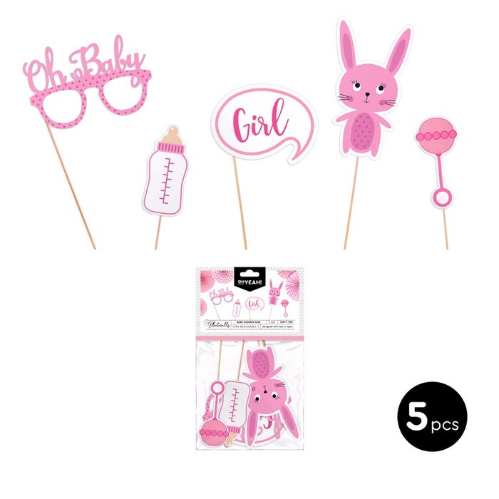 Set accesorios para photocall baby shower girl carton 5 uds