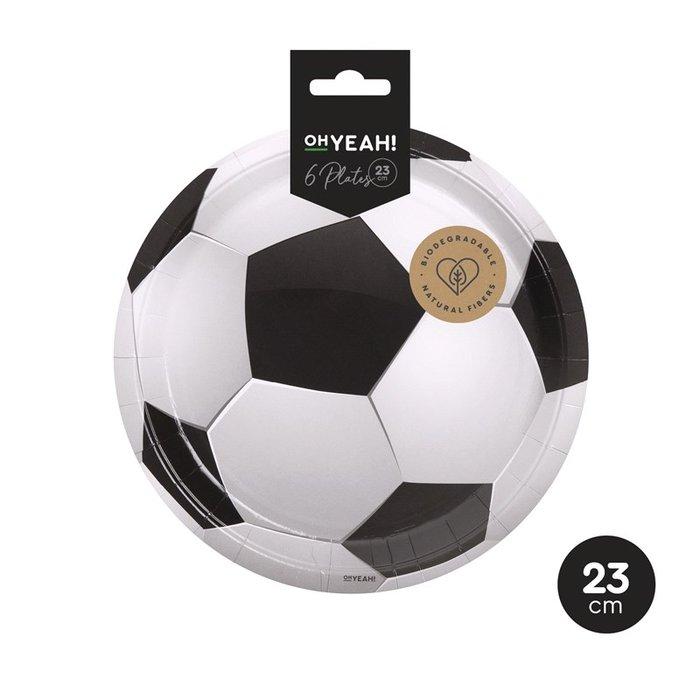 Plato llano futbol Ø23cm carton 6uds