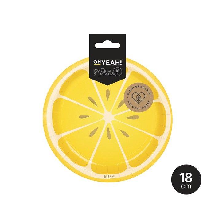 Plato llano limon postre 18cm carton 8uds
