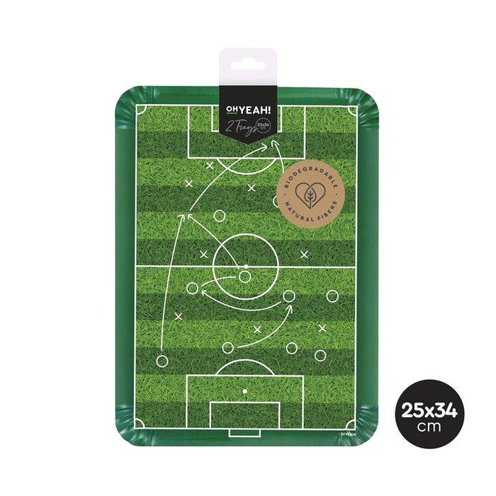 Bandeja carton rectangular futbol 25x34cm 2 uds