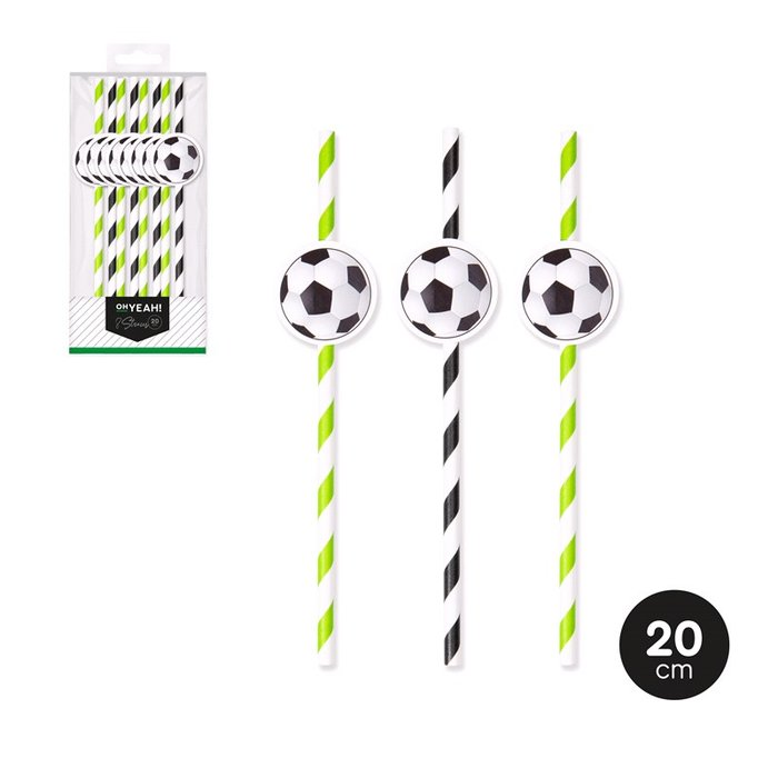 CaÑas futbol decoracion color surtido 20cm papel 8 uds