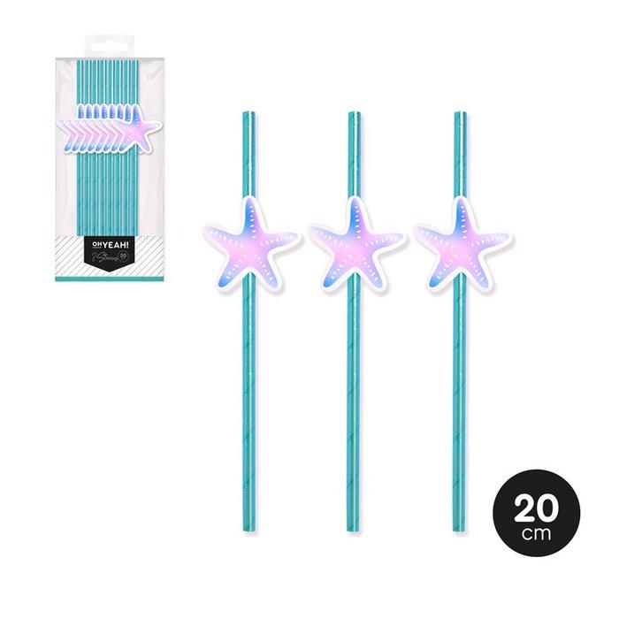 CaÑas sirena iridiscente decorado glitter 20cm papel 8 uds