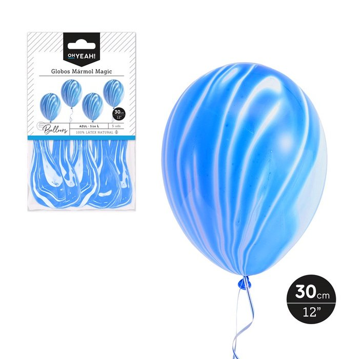 Globo marmol magic azul 30cm latex 5 uds