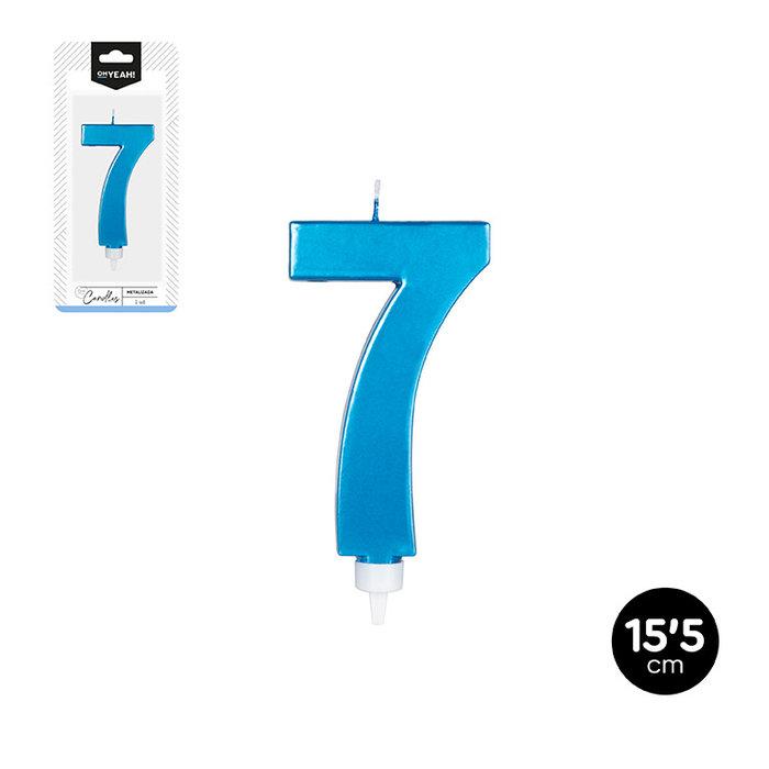 Vela grande numero 7 azul metalizado 15,5cm
