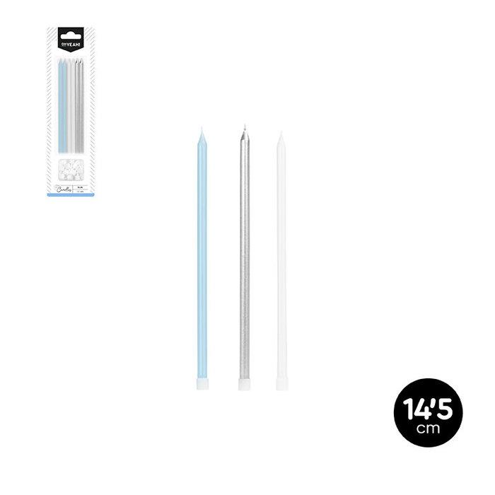 Vela extralarga plata metal azul pastel blanco 14,5cm bliste