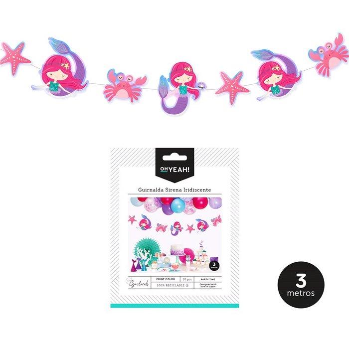 Guirnalda sirena multicolor iridiscente carton 10 pcs 1 ud