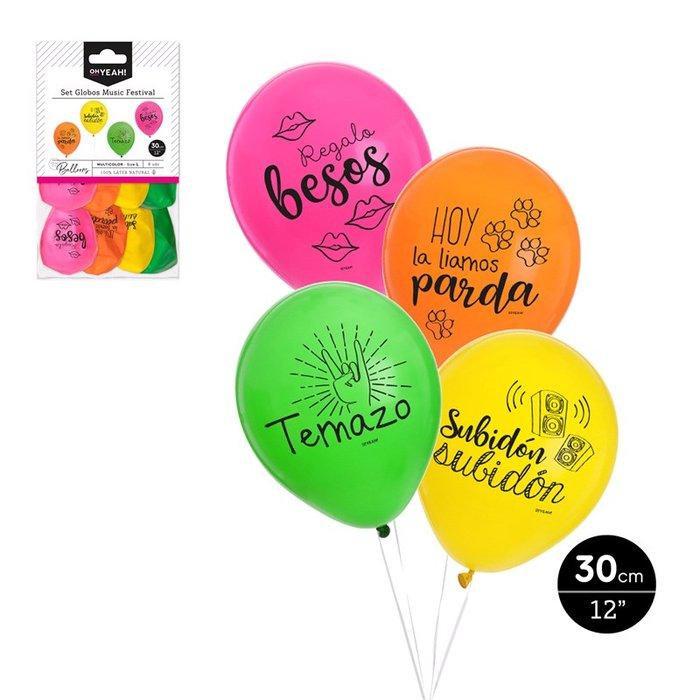 Set globos music festival´ diseÑ surtidos 30cm latex 8 ud