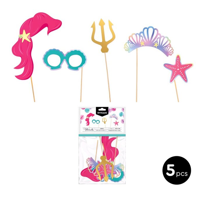 Set accesorios photocall sirena color iridiscente