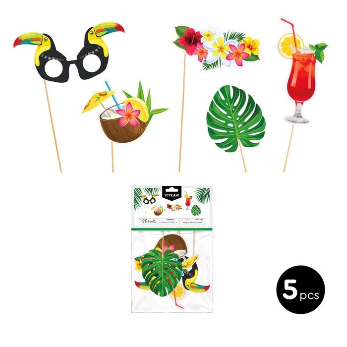 Set accesorios para photocall tropical carton 5 uds