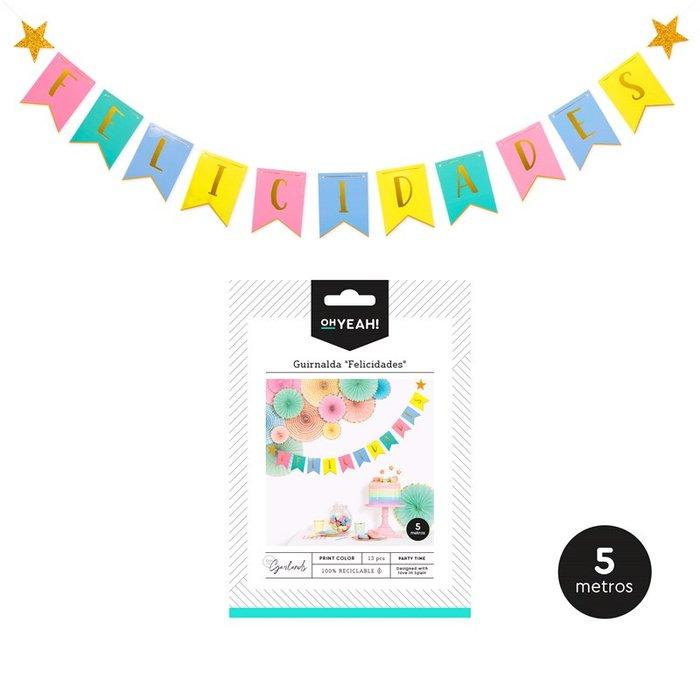 Guirnalda felicidades print color 5m carton