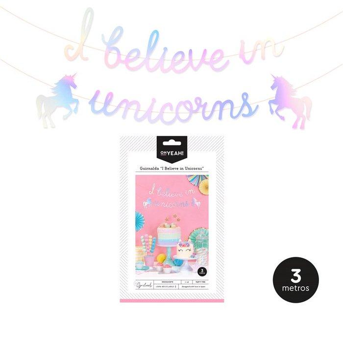 Guirnalda ´i believe in unicorns´ iridiscente 3m carton 1ud