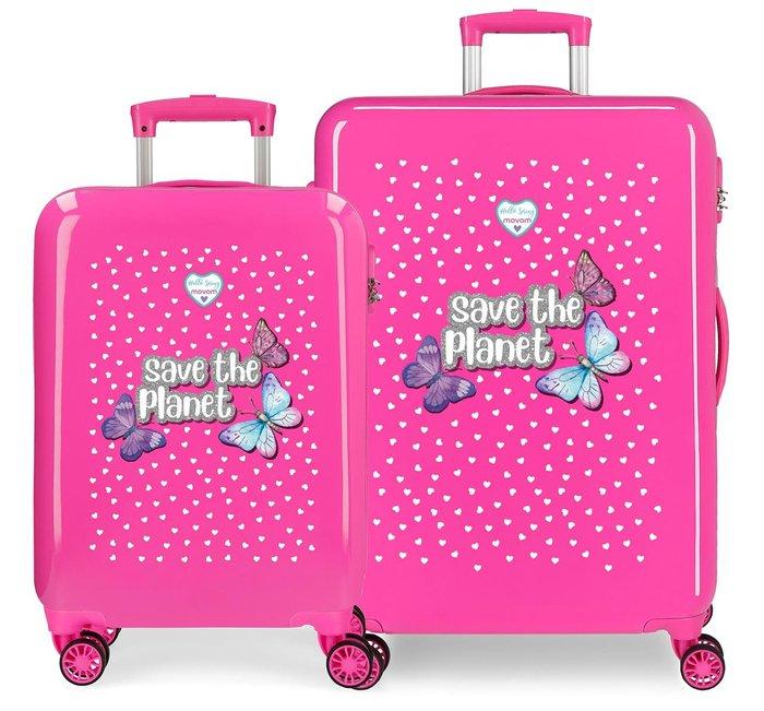 Juego de maletas movom save the planet rigidas 55-68cm fucsi