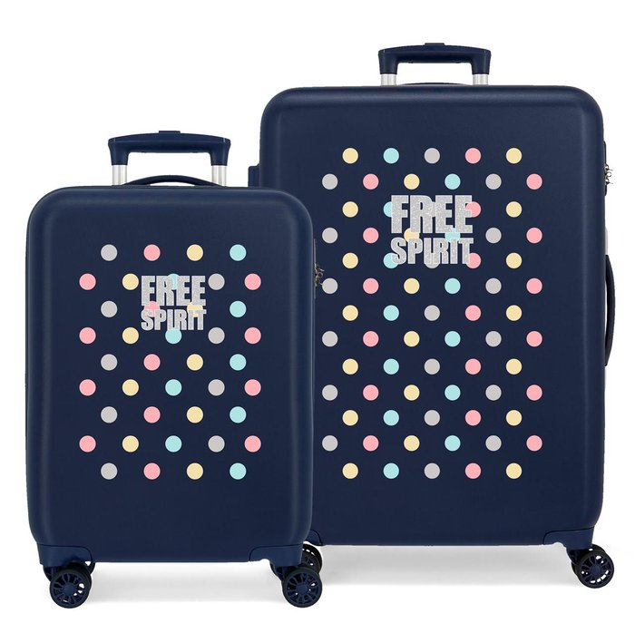 Juego de maletas movom free dots rigidas 55-69cm azul marino