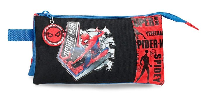 Estuche spiderman great power tres compartimentos