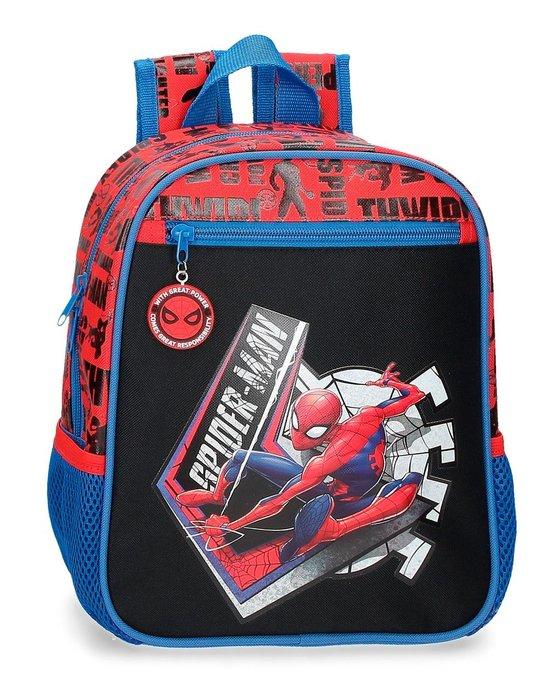 Mochila preescolar spiderman great power 28cm adaptable a ca