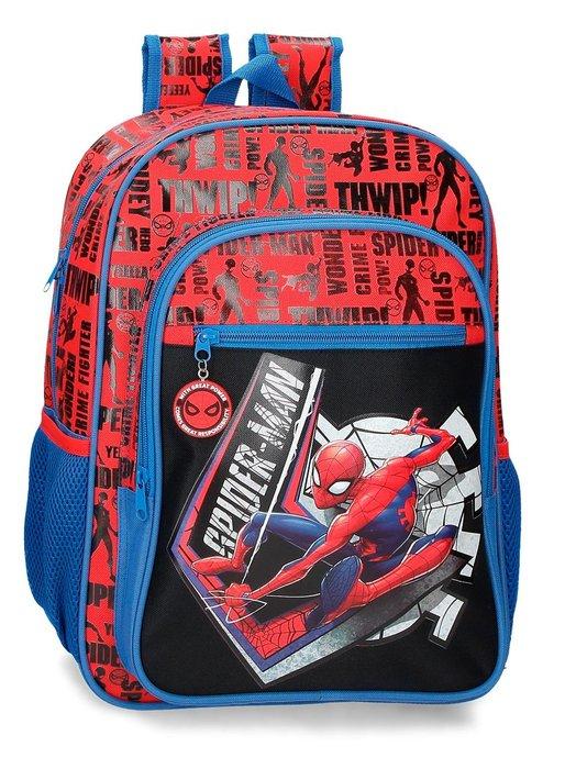Mochila escolar spiderman great power 40cm adaptable