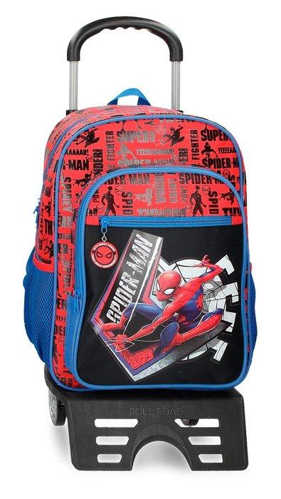 Mochila escolar spiderman great power 40cm con carro