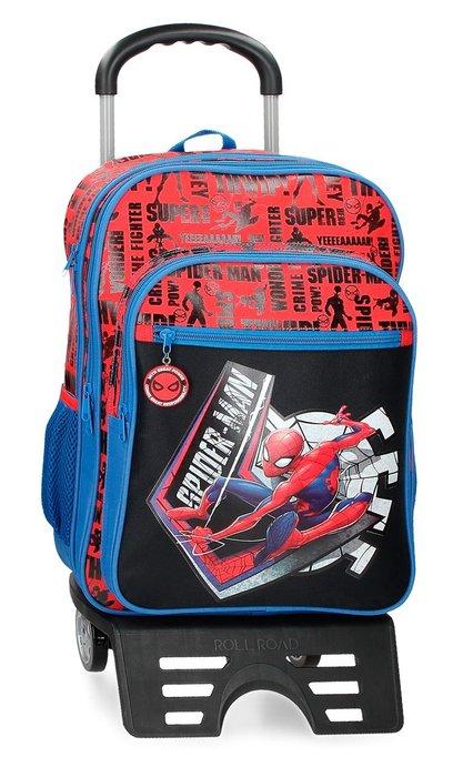 Mochila doble spiderman great power 42cm con carro