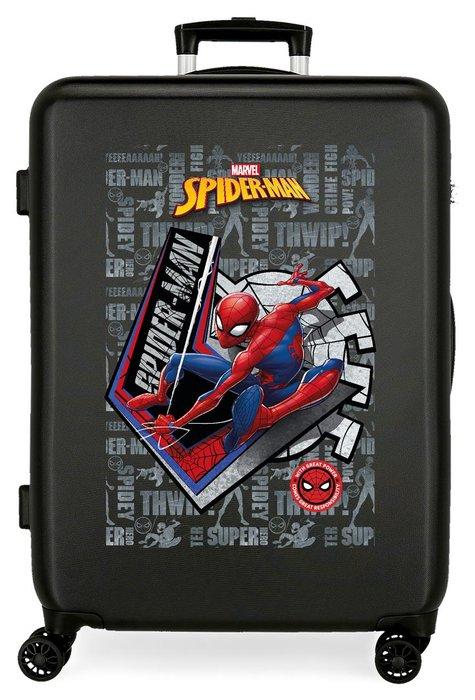 Maleta mediana spiderman great power rigida 68cm negro