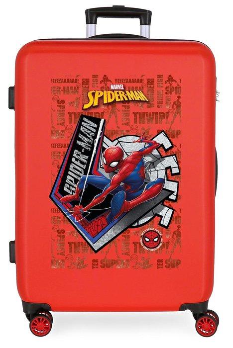 Maleta mediana spiderman great power rigida 68cm rojo