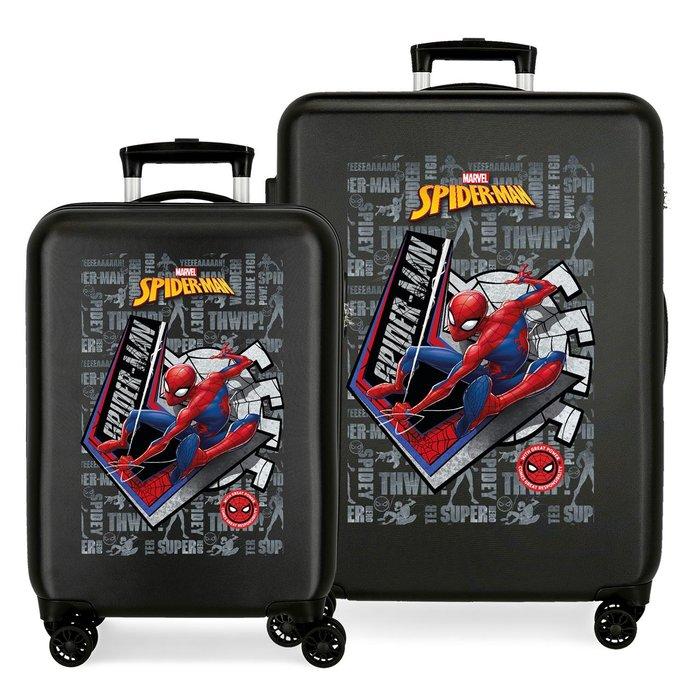 Juego de maletas spiderman great power rigidas 55-68cm negro