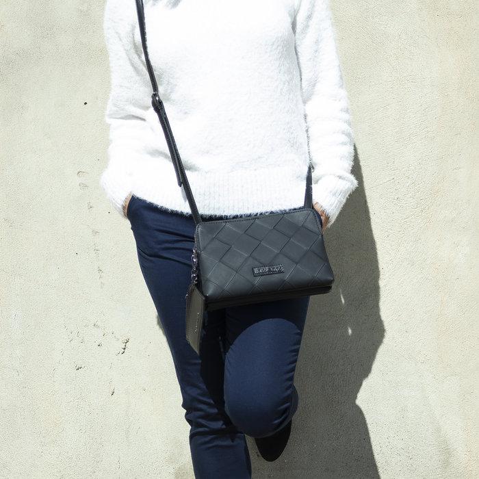 Bolso bandolera + mini tarjetero lois jeans edziza negro