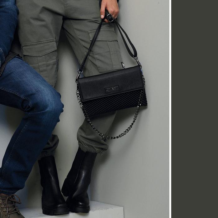Bolso bandolera plano cadena lois jeans silverthrone negro