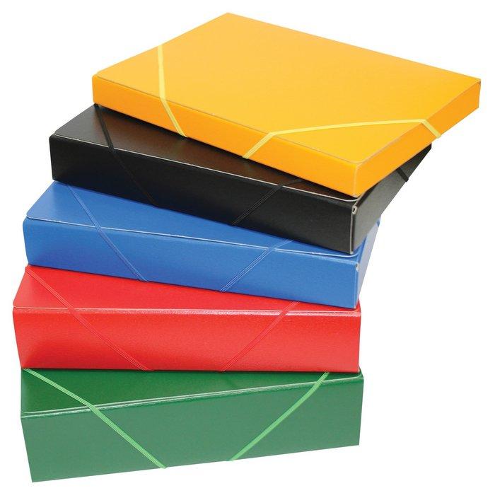 Carpeta proyectos armada carton gofrado lomo 3cm goma azul