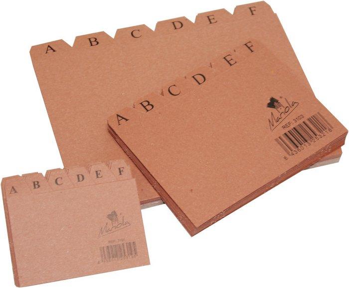 Indice ficheros carton nº1 cuero a-z 95x65mm