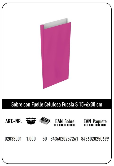 Sobre celulosa s 15+6x30 fucsia paquete 25 uds