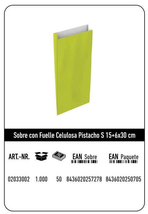 Sobre celulosa s 15+6x30 pistacho paquete 25 uds