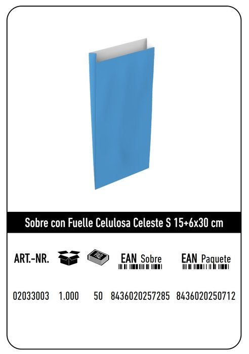 Sobre celulosa s 15+6x30 celeste paquete 25 uds