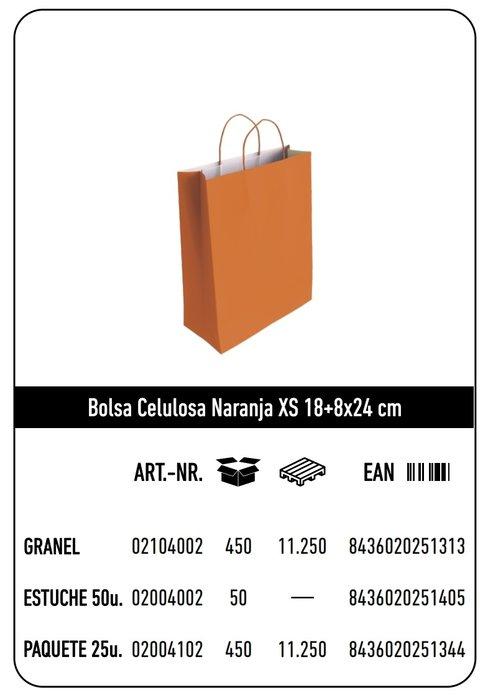 Bolsa celulosa xs 18+8x24 naranja